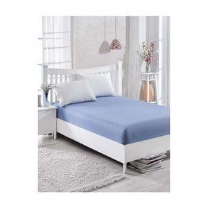 Modré bavlněné prostěradlo Simplicity, 160 x 200 cm