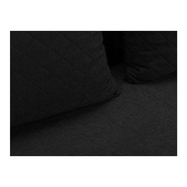 Suzanne fekete háromszemélyes kanapé ágyneműtartóval - Melart