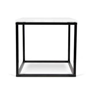 Prairie dohányzóasztal fekete lábakkal és fehér márvány asztallappal, 50 x 50 cm - TemaHome