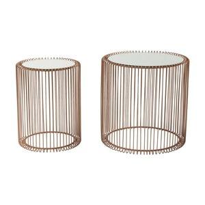 Wire High 2 db tárolóasztal, rézszínű dekorral - Kare Design