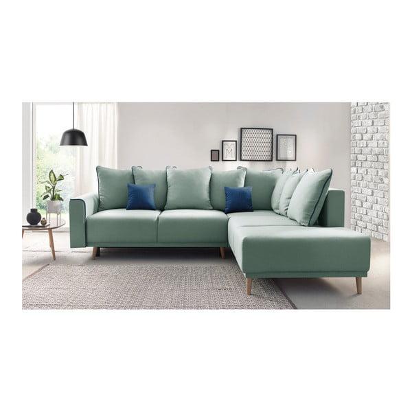 Mola L mentazöld kinyitható kanapé, jobb oldali kivitel - Bobochic Paris