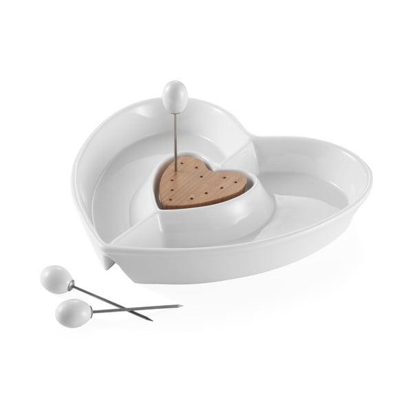 Heart szív alakú porcelán tálalótál - Brandani