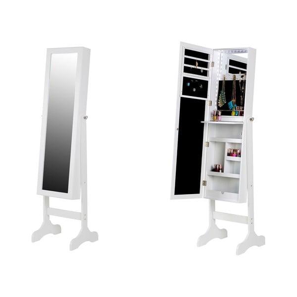 Bien fehér ékszertartó állvány tükörrel és LED háttérvilágítással - Chez Ro
