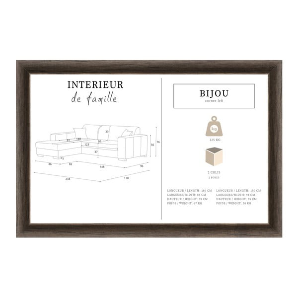 Bijou púderrózsaszín kanapé, bal oldalas - Interieur De Famille Paris