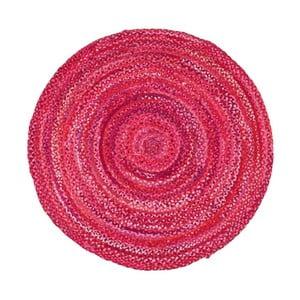 Růžový bavlněný kruhový koberec Garida, ⌀120cm