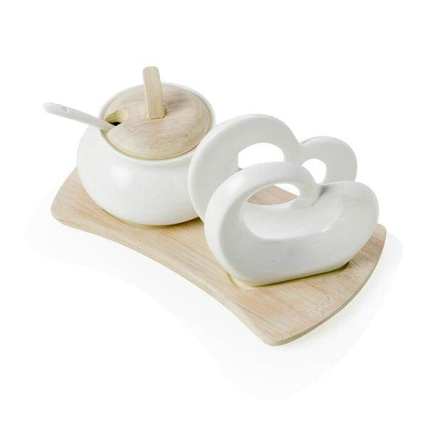 Double Heart porcelán és bambusz cukortartó és szalvétatartó szett - Brandani