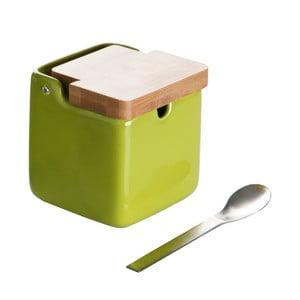 Spoon Wood zöld cukortartó kanállal - Versa