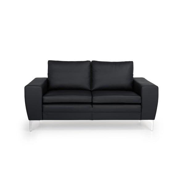Twigo fekete kétszemélyes bőr kanapé - Softnord