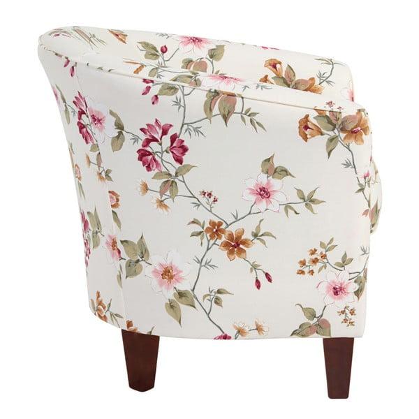 Livia fehér virágmintás fotel sötétbarna lábakkal - Max Winzer
