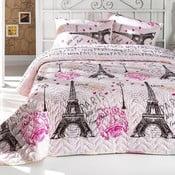 From Paris rózsaszín kétszemélyes steppelt ágytakaró 2 párnahuzattal, 200 x 220 cm