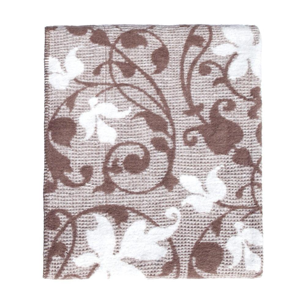 Leaves barna-fehér pamutkeverék takaró a61cd6fd4c