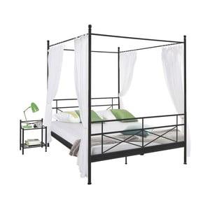 Tanja Canopy fekete fém ágy, 140 x 200 cm - Støraa