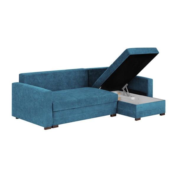 Andy kék háromszemélyes sarokkanapé, ágyneműtartóval - Melart