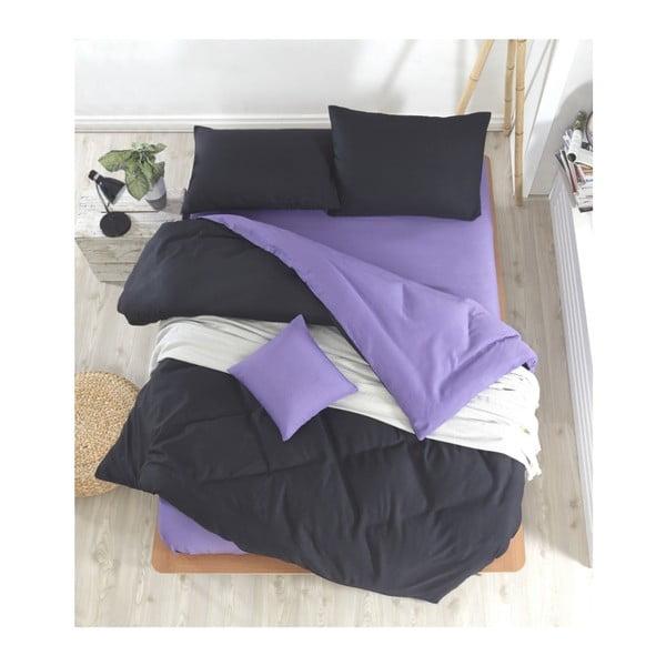 Permento Masilana kétszemélyes fekete-lila ágyneműhuzat lepedővel, 200 x 220 cm