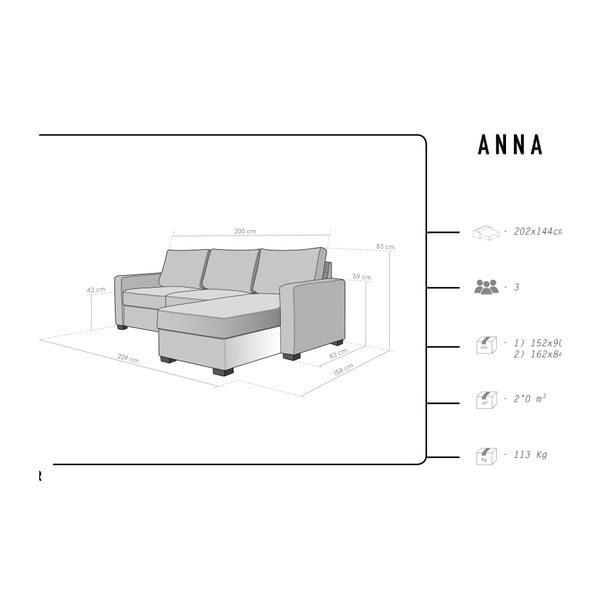 Anna világosszürke háromszemélyes kanapé, jobb oldalii - HARPER MAISON