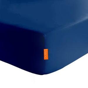 Basic sötétkék elasztikus lepedő 100% pamutból, 90 x 200 cm - Baleno