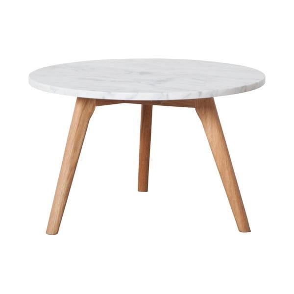 Tárolóasztal kőmintás asztallappal, ⌀ 50 cm - Zuiver