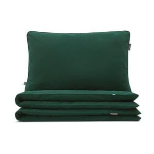 Sötétzöld pamut egyszemélyes ágyneműhuzat, 140x200 cm - Mumla