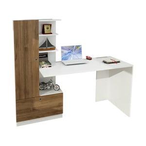 Domingos fehér íróasztal és könyvespolc diófa dekorelemekkel