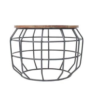 Pixel sötétszürke tárolóasztal mangófa asztallappal, Ø 56 cm - LABEL51