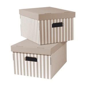 Stripes 2 darabos, bézs tárolódoboz szett- Compactor