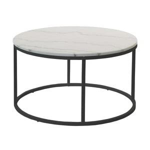 Accent márvány tárolóasztal fekete vázzal, Ø 85 cm - RGE