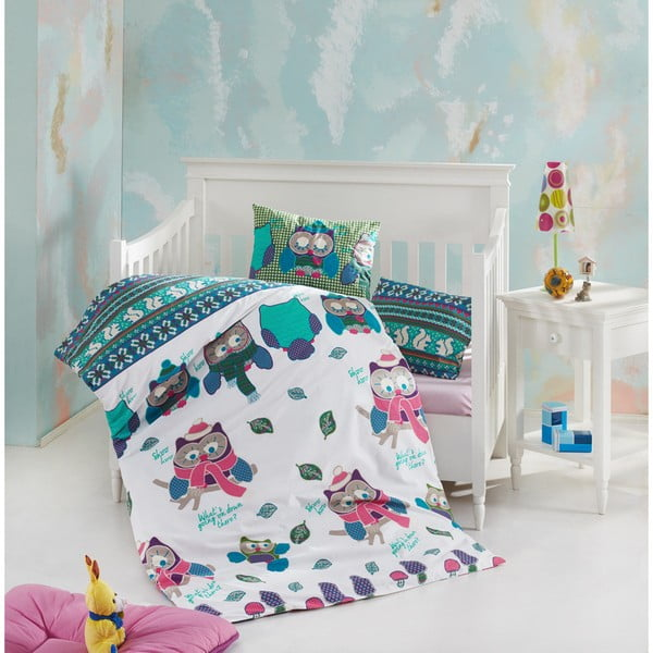 Owly pamut gyermek ágyneműhuzat garnitúra lepedővel, 100 x 150 cm