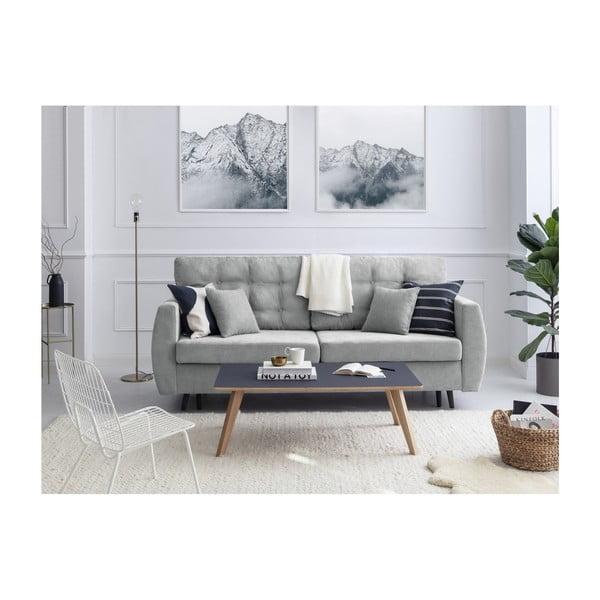 Rotterdam háromszemélyes szürke kinyitható kanapé tárolóval, 231 x 98 x 95 cm - Cosmopolitan design