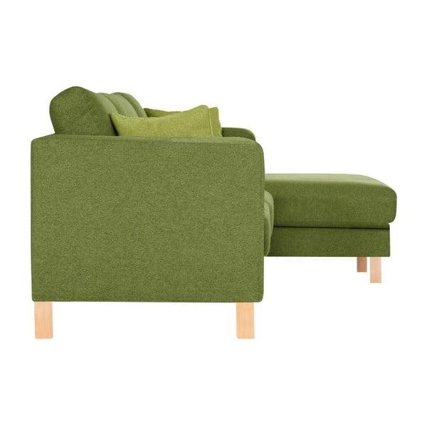 Canoa zöld, jobbos kialakítású kanapé fekvőfotellel és 2 világoszöld párnával - Stella Cadente Maison