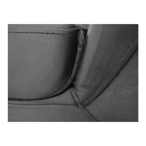 Benito szürke háromszemélyes kanapé, fekete lábakkal - Mazzini Sofas