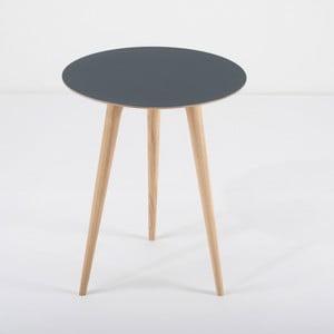 Arp tölgyfa kisasztal kék asztallappal, Ø 45 cm - Gazzda