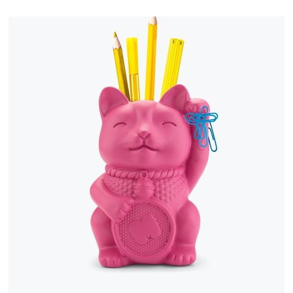 Lucky Cat rózsaszín ceruzatartó állvány - Just Mustard