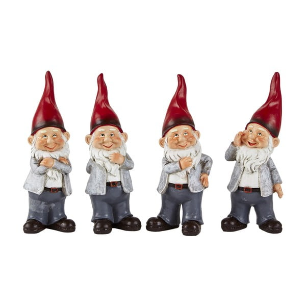 Dwarfy karácsonyi dekorációs szobor, 4 darabos készlet, 20 cm - KJ Collection