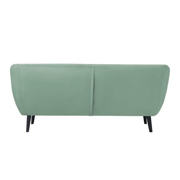 Toscane mentol zöld háromszemélyes kanapé, fekete lábakkal - Mazzini Sofas