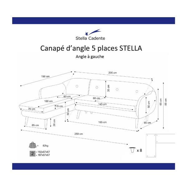 Olajzöld háromszemélyes kanapé, bal oldalas - Scandi by Stella Cadente Maison