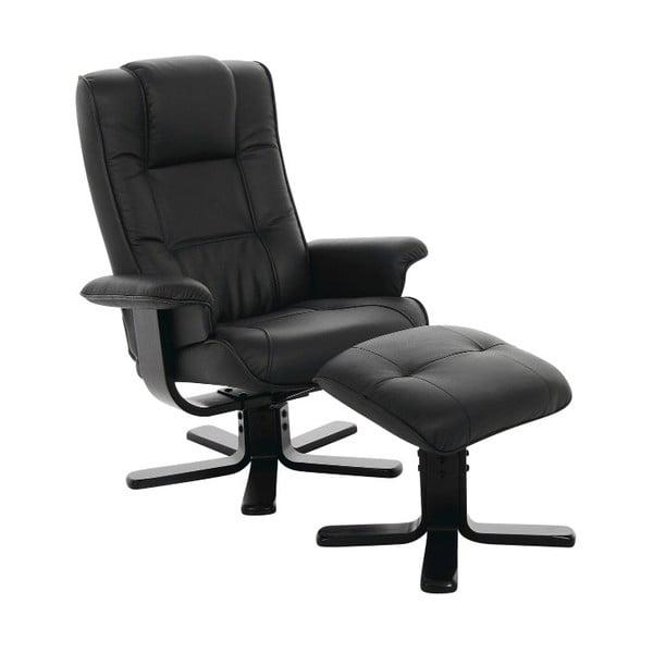 Limbo fekete állítható fotel lábtartóval - Actona