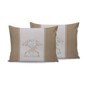 Polo Club Beige pamut párnahuzat, 2 darabos szett, 50 x 70 cm