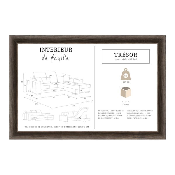 Tresor karamell színű kinyitható jobb oldali kanapé - Interieur De Famille Paris