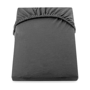 Amber Collection sötétszürke pamut gumis lepedő, 100-120 x 200 cm - DecoKing