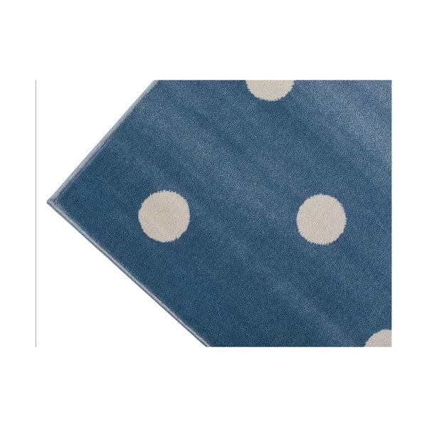 Blue Peas kék, pöttyös szőnyeg, 240 x 330 cm - KICOTI