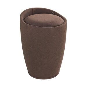 Linen Look barna szennyestartó kosár és ülőke egyben, 20 l - Wenko
