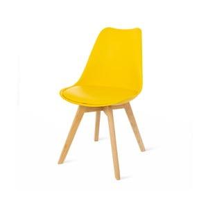 Retro sárga szék, bükkfa lábakkal - loomi.design